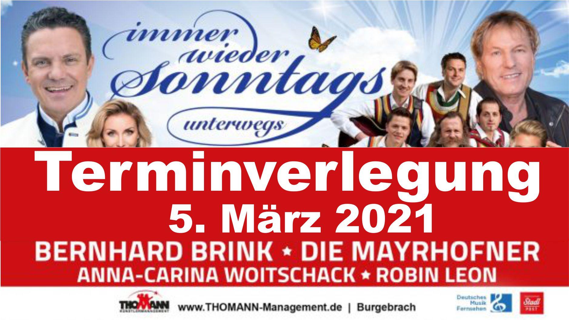 """Banner zur Tour """"immer wieder Sonntags"""" unterwegs mit Hinweis """"Terminverlegung 5. März 2021"""""""
